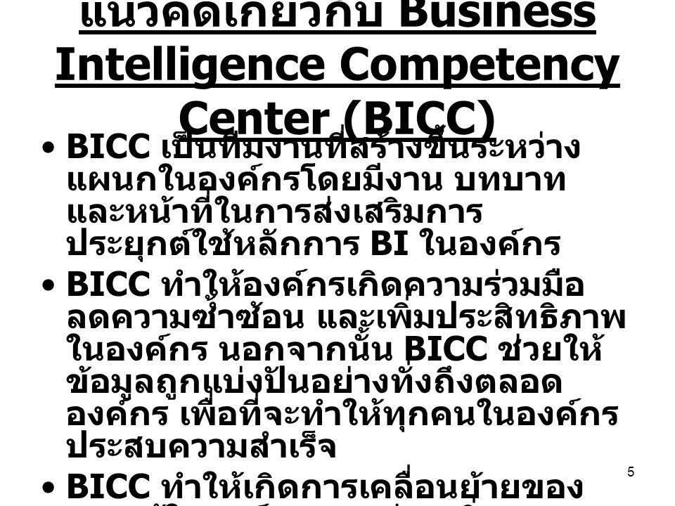 5 แนวคิดเกี่ยวกับ Business Intelligence Competency Center (BICC) BICC เป็นทีมงานที่สร้างขึ้นระหว่าง แผนกในองค์กรโดยมีงาน บทบาท และหน้าที่ในการส่งเสริม