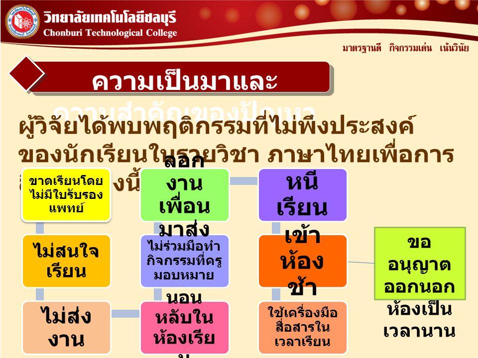 ความเป็นมาและ ความสำคัญของปัญหา ผู้วิจัยได้พบพฤติกรรมที่ไม่พึงประสงค์ ของนักเรียนในรายวิชา ภาษาไทยเพื่อการ สื่อสาร ดังนี้ ขาดเรียนโดย ไม่มีใบรับรอง แพ