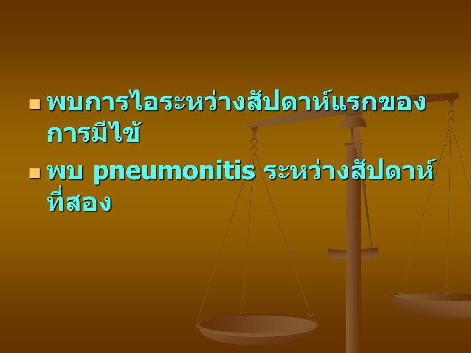 พบการไอระหว่างสัปดาห์แรกของ การมีไข้ พบการไอระหว่างสัปดาห์แรกของ การมีไข้ พบ pneumonitis ระหว่างสัปดาห์ ที่สอง พบ pneumonitis ระหว่างสัปดาห์ ที่สอง