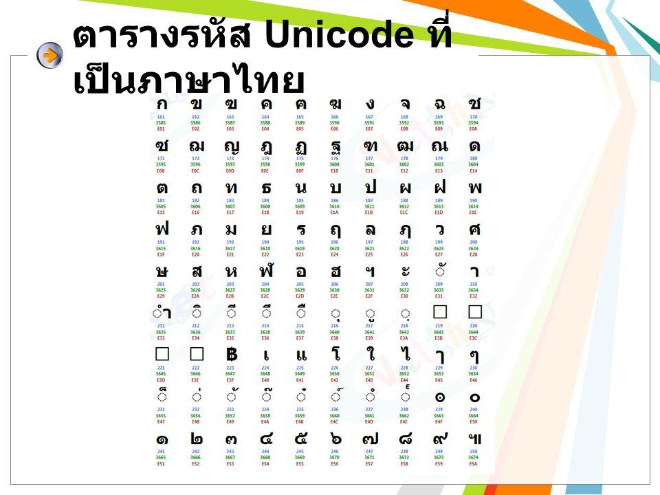 ตารางรหัส Unicode ที่ เป็นภาษาไทย