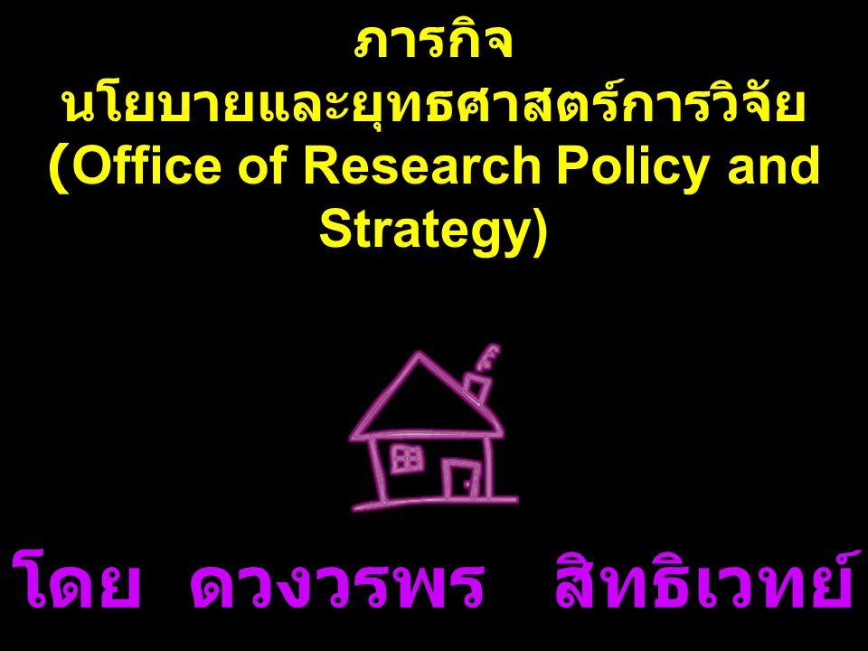 โดย ดวงวรพร สิทธิเวทย์ ภารกิจ นโยบายและยุทธศาสตร์การวิจัย (Office of Research Policy and Strategy)