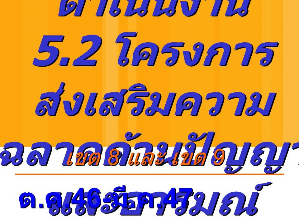 ผลการ ดำเนินงาน 5.2 โครงการ ส่งเสริมความ ฉลาดด้านปัญญา และอารมณ์ ต. ค.46- มี. ค.47 เขต 8 และ เขต 9