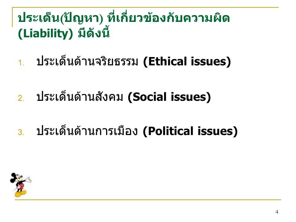 4 ประเด็น ( ปัญหา ) ที่เกี่ยวข้องกับความผิด (Liability) มีดังนี้ 1.