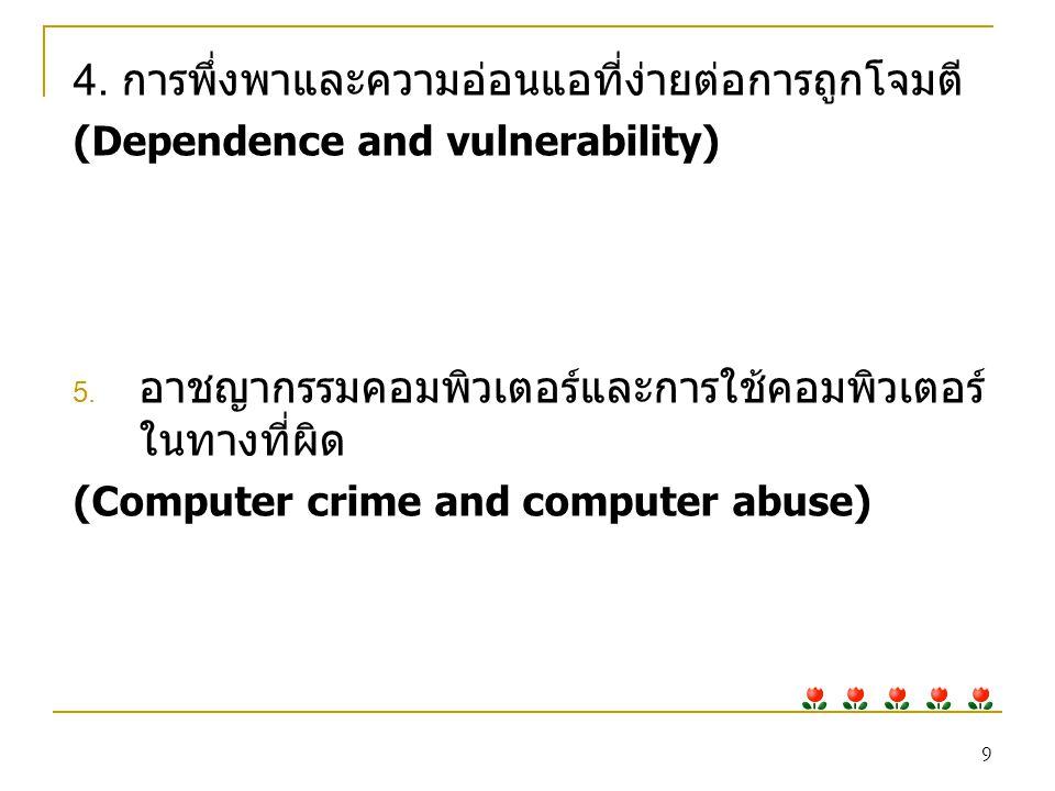 10 การใช้คอมพิวเตอร์ในทางที่ผิด (Computer abuse) หมายถึง การ กระทำที่เกี่ยวกับคอมพิวเตอร์ที่ไม่ผิดกฎหมายแต่ผิด ด้านจริยธรรม คนที่ใช้คอมพิวเตอร์ในทางที่ผิดกฎหมาย (Hacker) คำว่า Hacker เป็นชื่อที่ใช้เรียกพวกที่มีความชำนาญในการ คอมพิวเตอร์ไปในทางผิดกฎหมาย