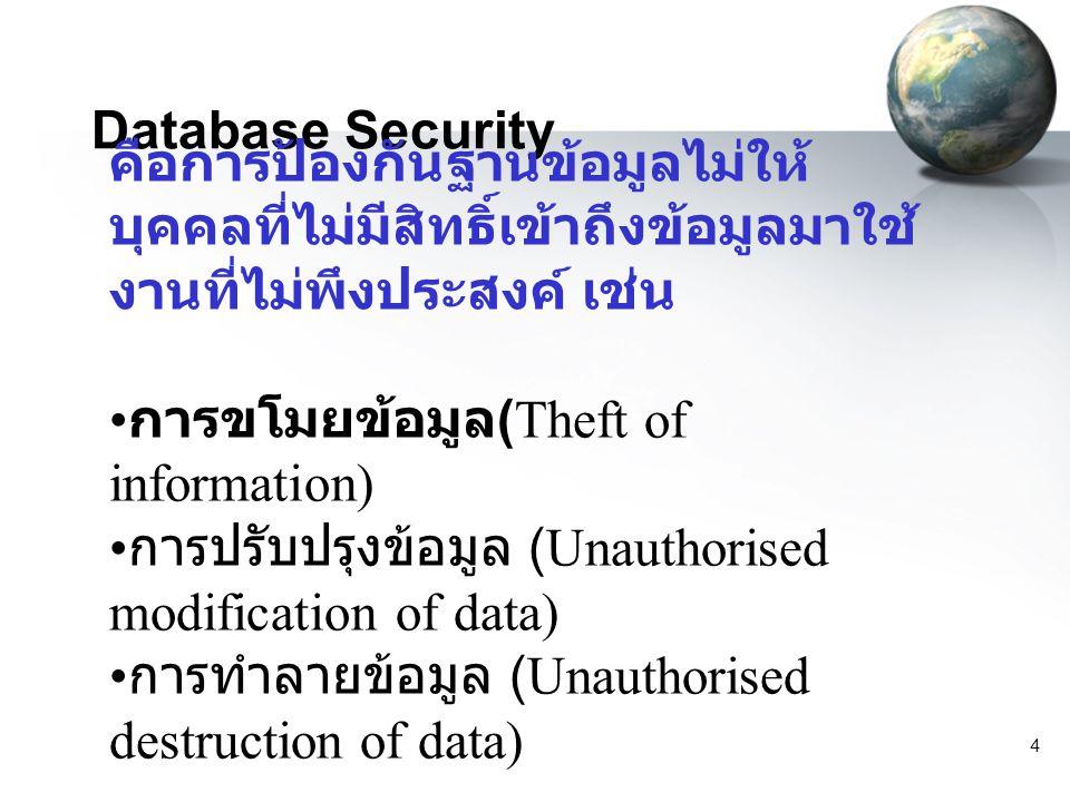 5 Database Security การรักษาความปลอดภัยนอกจากจะ หมายถึงการป้องกันข้อมูลสูญหาย แล้ว ยังหมายถึงการป้องกันหรือ จำกัดสิทธิ์การเข้าถึงข้อมูลของผู้ใช้ ในฐานข้อมูลนั้น โดยระบบ ฐานข้อมูลจะกำหนดสิทธิ์การเข้าถึง ข้อมูลในระดับต่าง ๆ ให้กับผู้ใช้ตาม ความจำเป็น