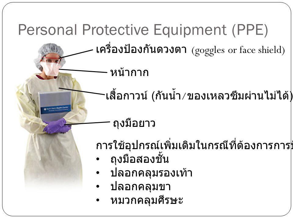 Personal Protective Equipment (PPE) เครื่องป้องกันดวงตา (goggles or face shield) หน้ากาก เสื้อกาวน์ ( กันน้ำ / ของเหลวซึมผ่านไม่ได้ ) ถุงมือยาว การใช้