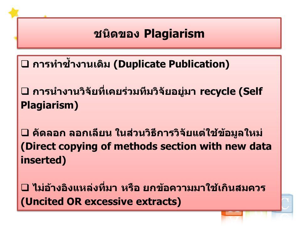 ชนิดของ Plagiarism  การทำซ้ำงานเดิม (Duplicate Publication)  การนำงานวิจัยที่เคยร่วมทีมวิจัยอยู่มา recycle (Self Plagiarism)  คัดลอก ลอกเลียน ในส่วนวิธีการวิจัยแต่ใช้ข้อมูลใหม่ (Direct copying of methods section with new data inserted)  ไม่อ้างอิงแหล่งที่มา หรือ ยกข้อความมาใช้เกินสมควร (Uncited OR excessive extracts)  การทำซ้ำงานเดิม (Duplicate Publication)  การนำงานวิจัยที่เคยร่วมทีมวิจัยอยู่มา recycle (Self Plagiarism)  คัดลอก ลอกเลียน ในส่วนวิธีการวิจัยแต่ใช้ข้อมูลใหม่ (Direct copying of methods section with new data inserted)  ไม่อ้างอิงแหล่งที่มา หรือ ยกข้อความมาใช้เกินสมควร (Uncited OR excessive extracts)