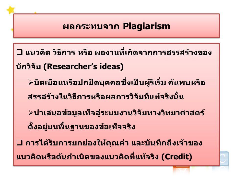ผลกระทบจาก Plagiarism  แนวคิด วิธีการ หรือ ผลงานที่เกิดจากการสรรสร้างของ นักวิจัย (Researcher's ideas)  บิดเบือนหรือปกปิดบุคคลซึ่งเป็นผู้ริเริ่ม ค้นพบหรือ สรรสร้างในวิธีการหรือผลการวิจัยที่แท้จริงนั้น  นำเสนอข้อมูลเท็จสู่ระบบงานวิจัยทางวิทยาศาสตร์ ตั้งอยู่บนพื้นฐานของข้อเท็จจริง  การได้รับการยกย่องให้คุณค่า และบันทึกถึงเจ้าของ แนวคิดหรือต้นกำเนิดของแนวคิดที่แท้จริง (Credit)  แนวคิด วิธีการ หรือ ผลงานที่เกิดจากการสรรสร้างของ นักวิจัย (Researcher's ideas)  บิดเบือนหรือปกปิดบุคคลซึ่งเป็นผู้ริเริ่ม ค้นพบหรือ สรรสร้างในวิธีการหรือผลการวิจัยที่แท้จริงนั้น  นำเสนอข้อมูลเท็จสู่ระบบงานวิจัยทางวิทยาศาสตร์ ตั้งอยู่บนพื้นฐานของข้อเท็จจริง  การได้รับการยกย่องให้คุณค่า และบันทึกถึงเจ้าของ แนวคิดหรือต้นกำเนิดของแนวคิดที่แท้จริง (Credit)