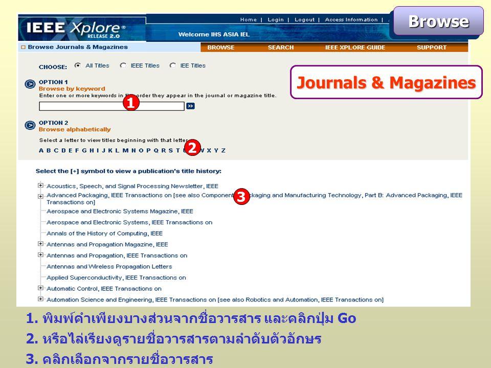 Journals & Magazines 1. พิมพ์คำเพียงบางส่วนจากชื่อวารสาร และคลิกปุ่ม Go 3.