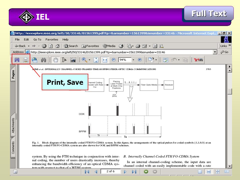 IEL Full Text Print, Save