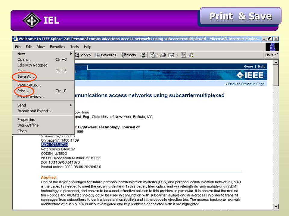 IEL Print & Save