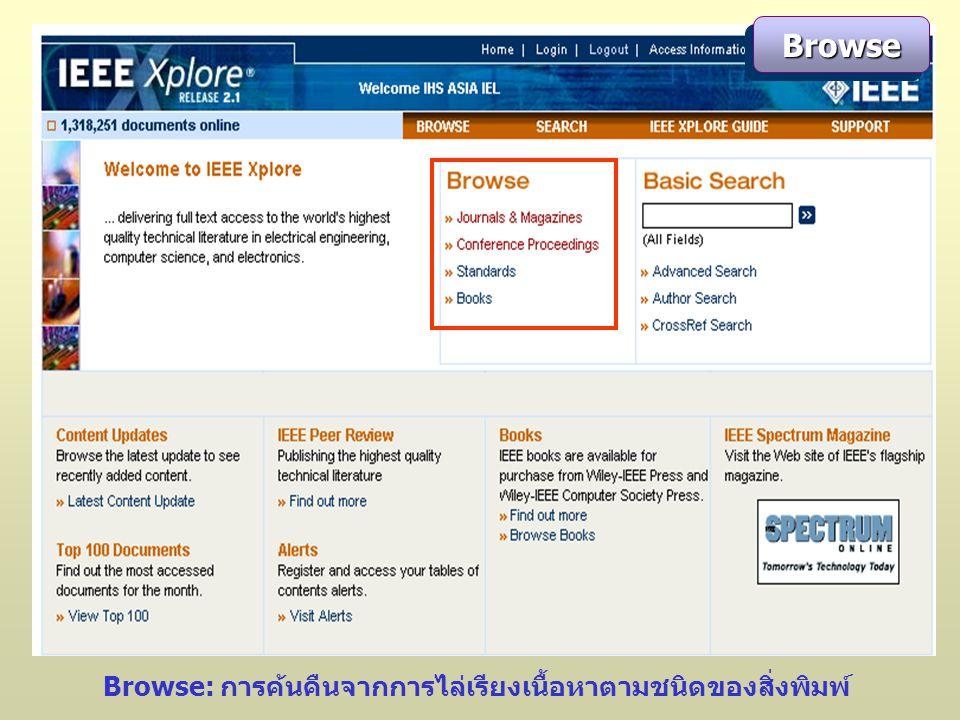 BrowseBrowse Browse: การค้นคืนจากการไล่เรียงเนื้อหาตามชนิดของสิ่งพิมพ์