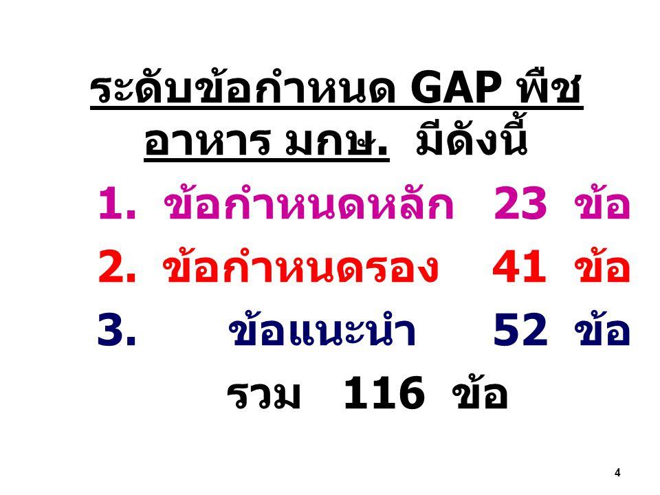 ระดับข้อกำหนด GAP พืช อาหาร มกษ. มีดังนี้ 1. ข้อกำหนดหลัก 23 ข้อ 2. ข้อกำหนดรอง 41 ข้อ 3. ข้อแนะนำ 52 ข้อ รวม 116 ข้อ 4
