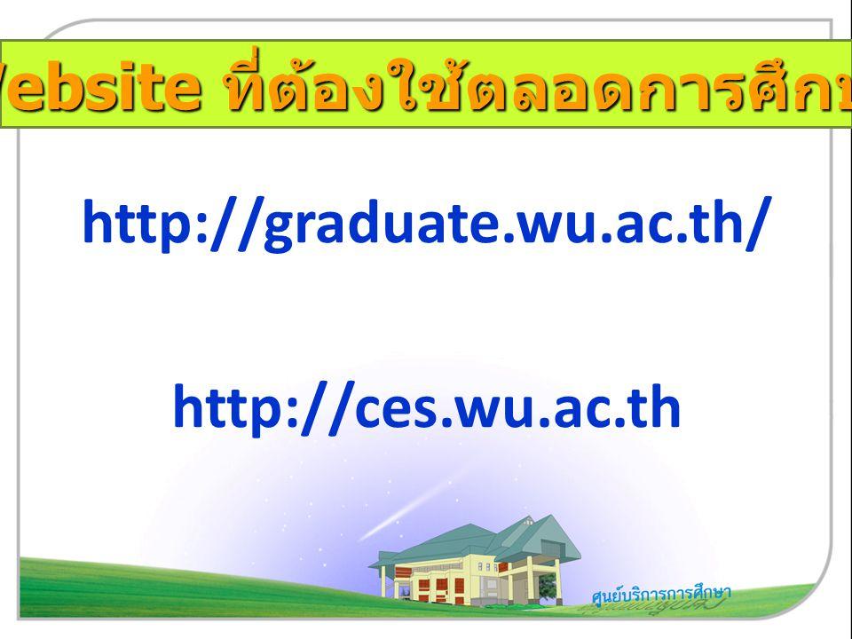 http://graduate.wu.ac.th/ http://ces.wu.ac.th Website ที่ต้องใช้ตลอดการศึกษา