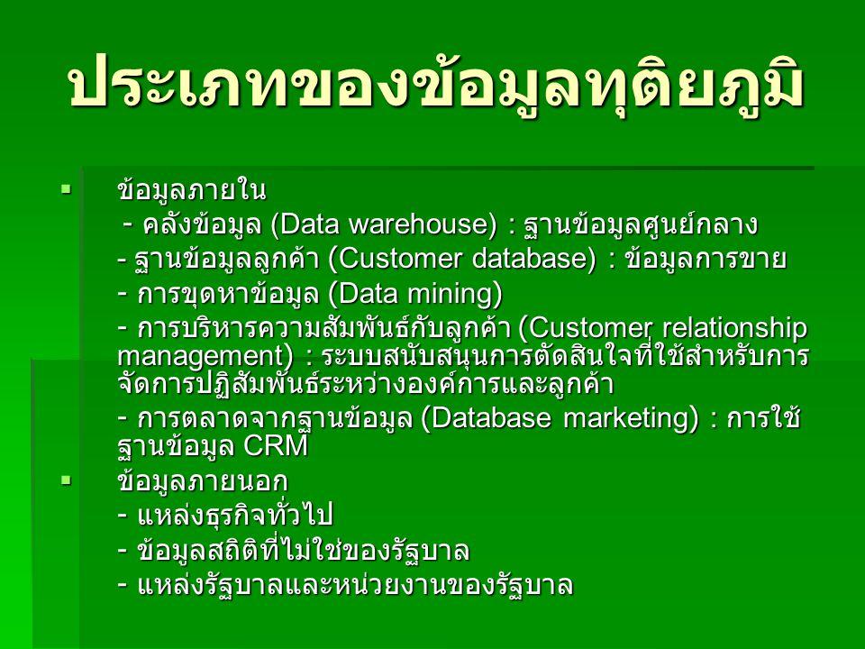ประเภทของข้อมูลทุติยภูมิ  ข้อมูลภายใน - คลังข้อมูล (Data warehouse) : ฐานข้อมูลศูนย์กลาง - คลังข้อมูล (Data warehouse) : ฐานข้อมูลศูนย์กลาง - ฐานข้อม