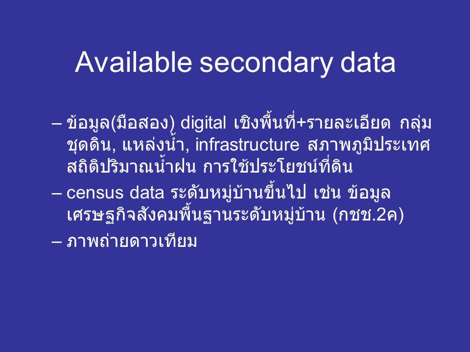 Available secondary data – ข้อมูล ( มือสอง ) digital เชิงพื้นที่ + รายละเอียด กลุ่ม ชุดดิน, แหล่งน้ำ, infrastructure สภาพภูมิประเทศ สถิติปริมาณน้ำฝน การใช้ประโยชน์ที่ดิน –census data ระดับหมู่บ้านขึ้นไป เช่น ข้อมูล เศรษฐกิจสังคมพื้นฐานระดับหมู่บ้าน ( กชช.2 ค ) – ภาพถ่ายดาวเทียม