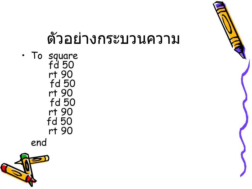 ตัวอย่างกระบวนความ To square fd 50 rt 90 fd 50 rt 90 fd 50 rt 90 fd 50 rt 90 end