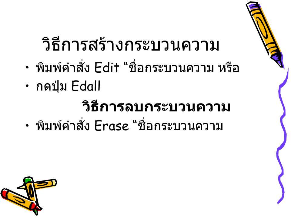"""วิธีการสร้างกระบวนความ พิมพ์คำสั่ง Edit """" ชื่อกระบวนความ หรือ กดปุ่ม Edall วิธีการลบกระบวนความ พิมพ์คำสั่ง Erase """" ชื่อกระบวนความ"""
