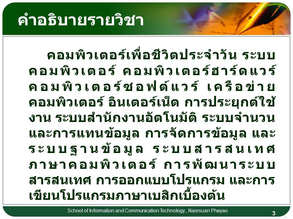 3 School of Information and Communication Technology., Naresuan Phayao คำอธิบายรายวิชา คอมพิวเตอร์เพื่อชีวิตประจำวัน ระบบ คอมพิวเตอร์ คอมพิวเตอร์ฮาร์ดแวร์ คอมพิวเตอร์ซอฟต์แวร์ เครือข่าย คอมพิวเตอร์ อินเตอร์เน็ต การประยุกต์ใช้ งาน ระบบสำนักงานอัตโนมัติ ระบบจำนวน และการแทนข้อมูล การจัดการข้อมูล และ ระบบฐานข้อมูล ระบบสารสนเทศ ภาษาคอมพิวเตอร์ การพัฒนาระบบ สารสนเทศ การออกแบบโปรแกรม และการ เขียนโปรแกรมภาษาเบสิกเบื้องต้น