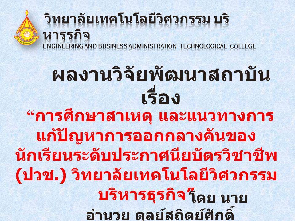 """ผลงานวิจัยพัฒนาสถาบัน เรื่อง """" การศึกษาสาเหตุ และแนวทางการ แก้ปัญหาการออกกลางคันของ นักเรียนระดับประกาศนียบัตรวิชาชีพ ( ปวช.) วิทยาลัยเทคโนโลยีวิศวกรร"""
