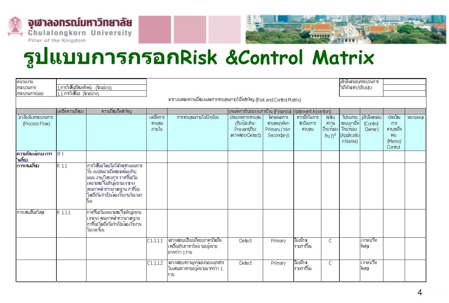 4 รูปแบบการกรอก Risk &Control Matrix