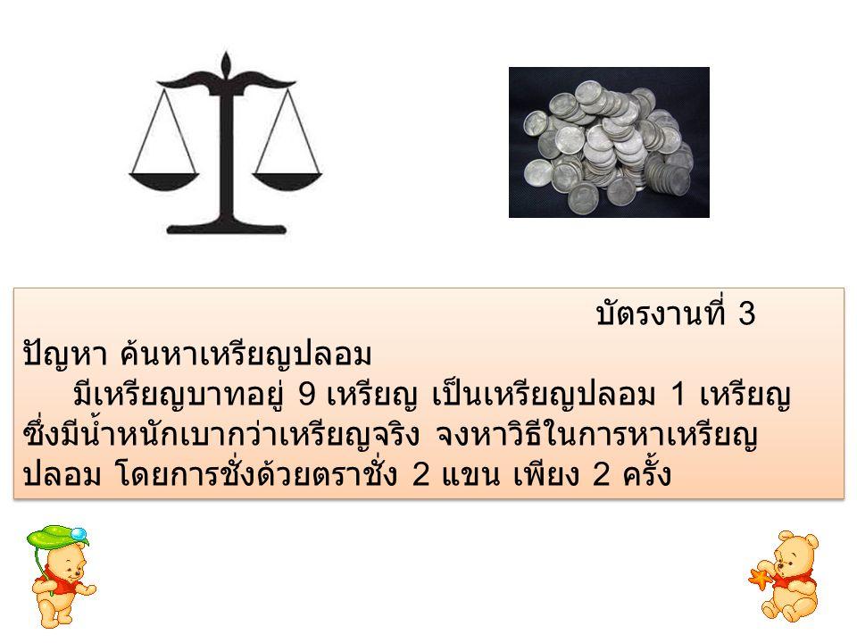 แบ่งเหรียญเป็น 3 กอง กองละ 3 เหรียญ แล้วนำเหรียญ กองที่ 1 และกองที่ 2 มาชั่ง เหรียญกองที่ 1 เหรียญกองที่ 2 เหรียญกองที่ 3