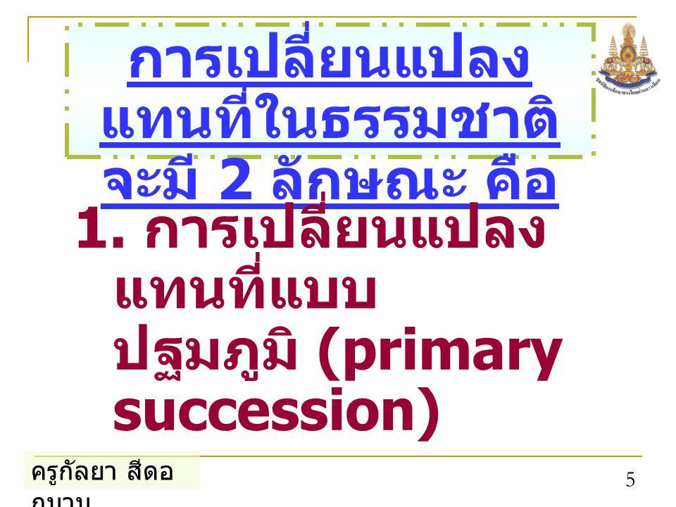 ครูกัลยา สีดอ กบวบ 5 การเปลี่ยนแปลง แทนที่ในธรรมชาติ จะมี 2 ลักษณะ คือ 1. การเปลี่ยนแปลง แทนที่แบบ ปฐมภูมิ (primary succession)