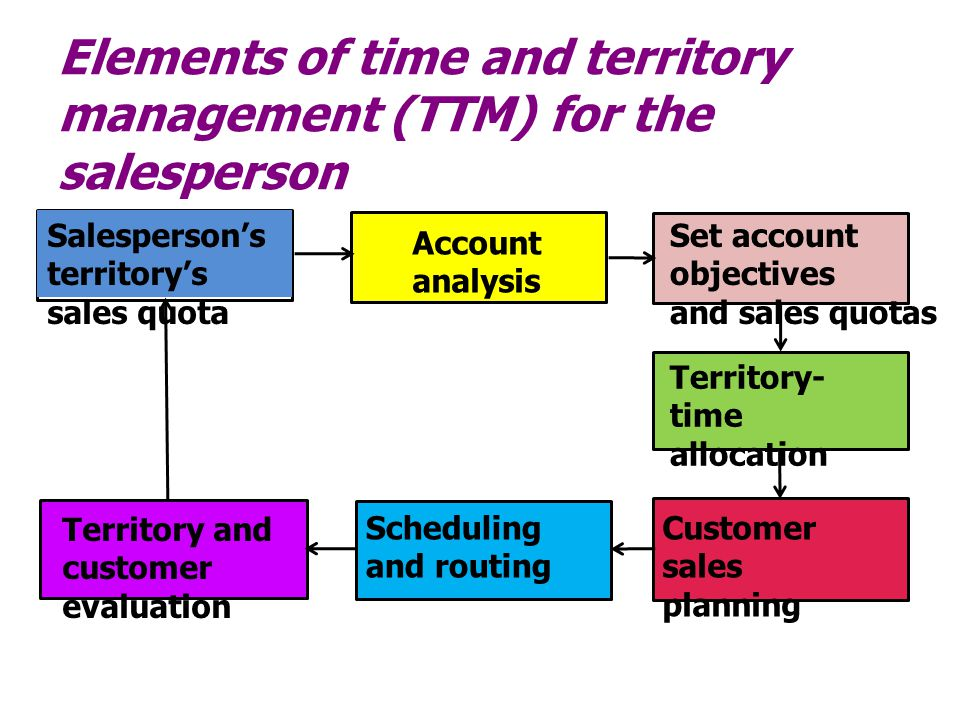 Elements of time and territory management (TTM) for the salesperson Salesperson's territory's sales quota Account analysis Set account objectives and