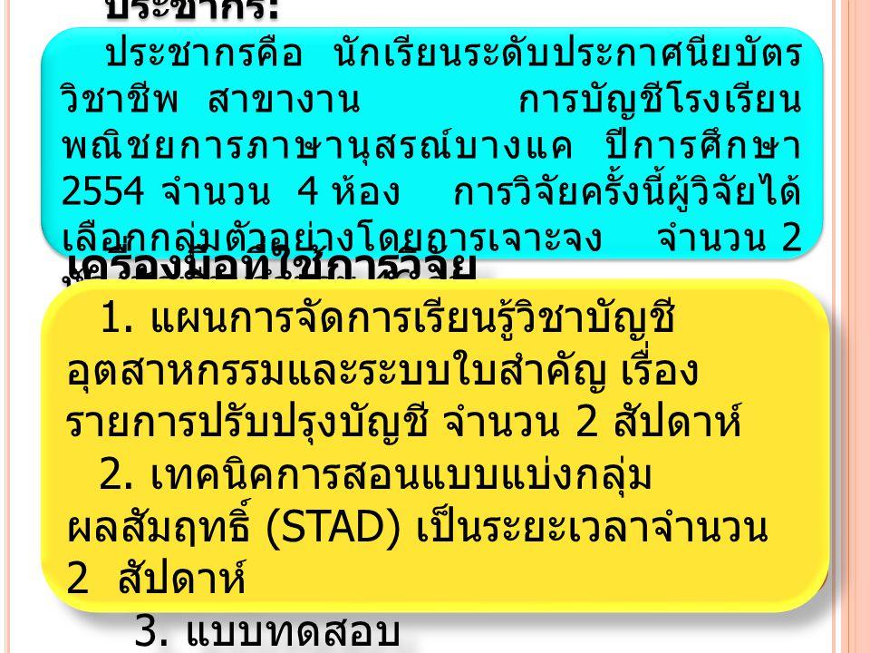 1.ทดสอบก่อนใช้เทคนิคการสอนแบบแบ่งกลุ่ม ผลสัมฤทธิ์ (STAD) (Pretest) โดยใช้ แบบทดสอบ 2.