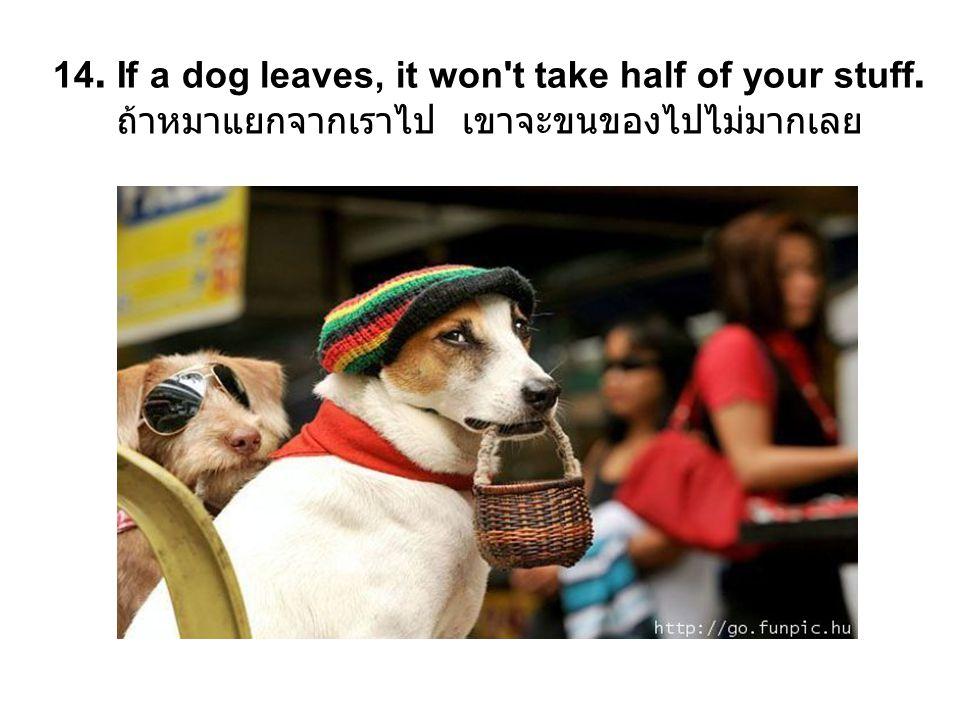 14. If a dog leaves, it won t take half of your stuff. ถ้าหมาแยกจากเราไป เขาจะขนของไปไม่มากเลย