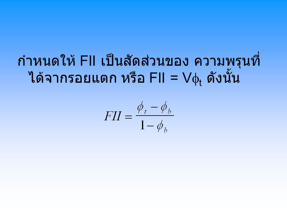 กำหนดให้ FII เป็นสัดส่วนของ ความพรุนที่ ได้จากรอยแตก หรือ FII = V  t ดังนั้น