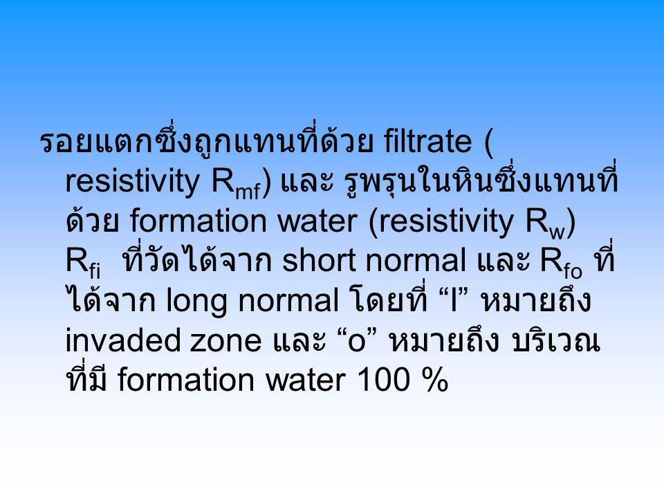 รอยแตกซึ่งถูกแทนที่ด้วย filtrate ( resistivity R mf ) และ รูพรุนในหินซึ่งแทนที่ ด้วย formation water (resistivity R w ) R fi ที่วัดได้จาก short normal และ R fo ที่ ได้จาก long normal โดยที่ I หมายถึง invaded zone และ o หมายถึง บริเวณ ที่มี formation water 100 %