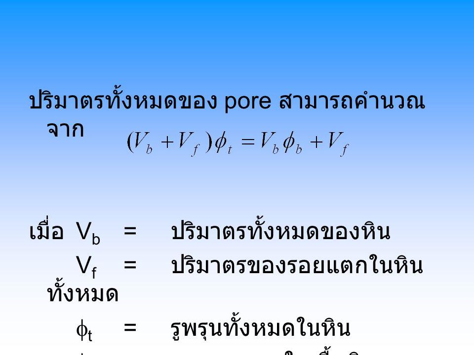 ปริมาตรทั้งหมดของ pore สามารถคำนวณ จาก เมื่อ V b = ปริมาตรทั้งหมดของหิน V f = ปริมาตรของรอยแตกในหิน ทั้งหมด  t = รูพรุนทั้งหมดในหิน  b = รูพรุนเฉพาะในเนื้อหิน