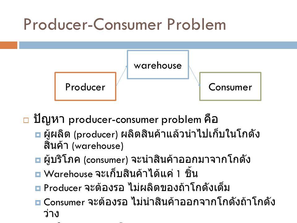 Producer-Consumer Problem  ปัญหา producer-consumer problem คือ  ผู้ผลิต (producer) ผลิตสินค้าแล้วนำไปเก็บในโกดัง สินค้า (warehouse)  ผู้บริโภค (consumer) จะนำสินค้าออกมาจากโกดัง  Warehouse จะเก็บสินค้าได้แค่ 1 ชิ้น  Producer จะต้องรอ ไม่ผลิตของถ้าโกดังเต็ม  Consumer จะต้องรอ ไม่นำสินค้าออกจากโกดังถ้าโกดัง ว่าง  เวลาในการผลิตหรือนำสินค้าออกจะสุ่มระหว่าง 0 – 999 ms warehouse ProducerConsumer