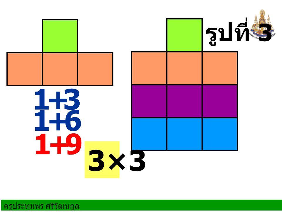 ครูประทุมพร ศรีวัฒนกูล 1+3 1+6 รูปที่ 4 1+9 1+ 12 3×4