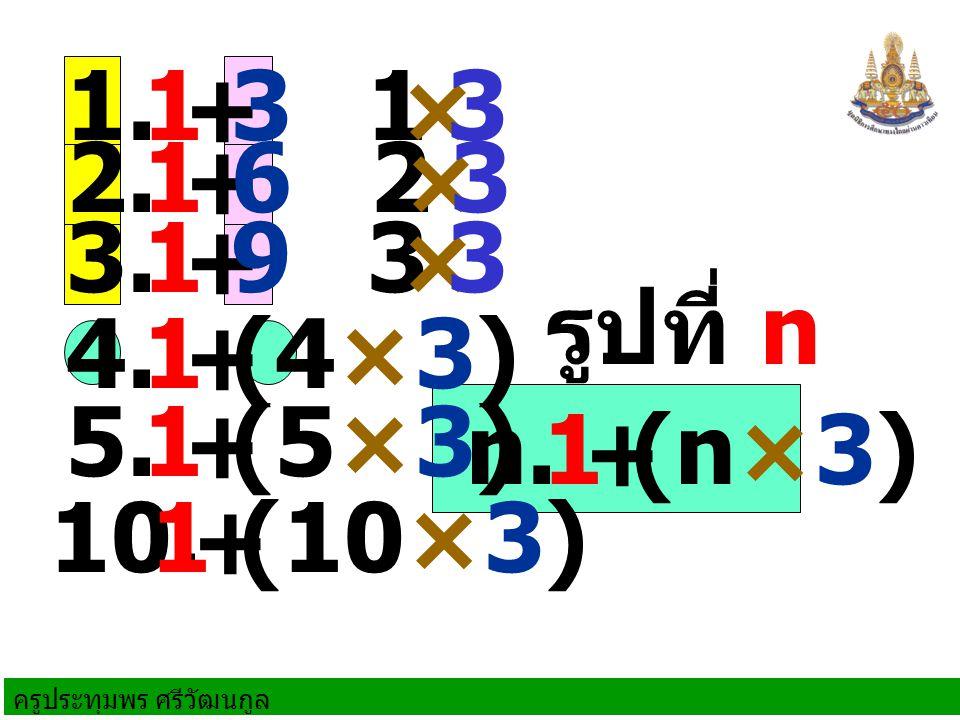 ครูประทุมพร ศรีวัฒนกูล 1.+ 31 2. + 61 1 3. + 91 × 3 2 × 3 3 × 3 4.