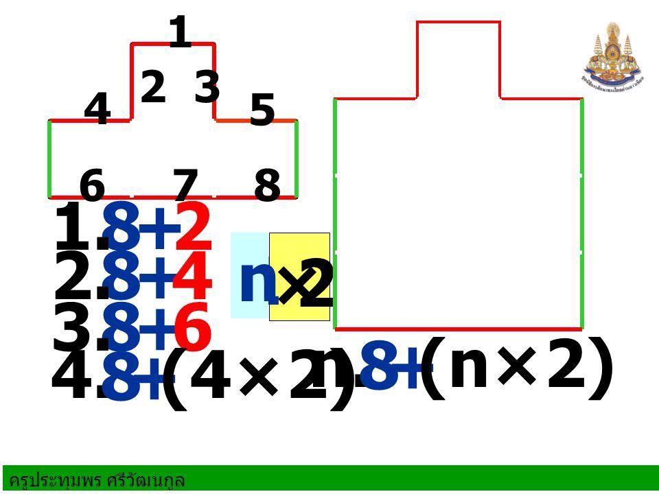 ครูประทุมพร ศรีวัฒนกูล 8+2 8+4 1. 2. 8+63. ×2 4. 8+ (4×2) n. 8+ (n×2) 1 n 1 23 4 5 678