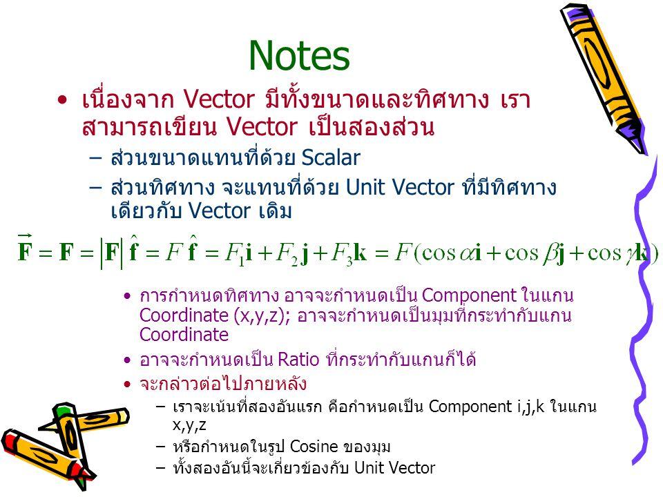 Notes เนื่องจาก Vector มีทั้งขนาดและทิศทาง เรา สามารถเขียน Vector เป็นสองส่วน –ส่วนขนาดแทนที่ด้วย Scalar –ส่วนทิศทาง จะแทนที่ด้วย Unit Vector ที่มีทิศทาง เดียวกับ Vector เดิม การกำหนดทิศทาง อาจจะกำหนดเป็น Component ในแกน Coordinate (x,y,z); อาจจะกำหนดเป็นมุมที่กระทำกับแกน Coordinate อาจจะกำหนดเป็น Ratio ที่กระทำกับแกนก็ได้ จะกล่าวต่อไปภายหลัง –เราจะเน้นที่สองอันแรก คือกำหนดเป็น Component i,j,k ในแกน x,y,z –หรือกำหนดในรูป Cosine ของมุม –ทั้งสองอันนี้จะเกี่ยวข้องกับ Unit Vector