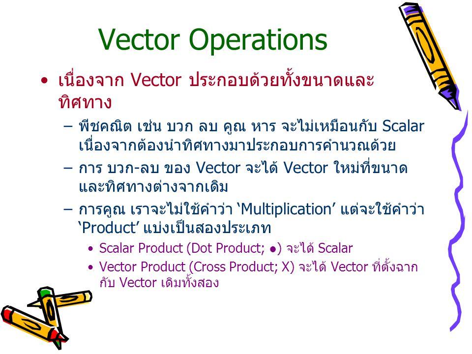 Vector Operations เนื่องจาก Vector ประกอบด้วยทั้งขนาดและ ทิศทาง –พีชคณิต เช่น บวก ลบ คูณ หาร จะไม่เหมือนกับ Scalar เนื่องจากต้องนำทิศทางมาประกอบการคำนวณด้วย –การ บวก-ลบ ของ Vector จะได้ Vector ใหม่ที่ขนาด และทิศทางต่างจากเดิม –การคูณ เราจะไม่ใช้คำว่า 'Multiplication' แต่จะใช้คำว่า 'Product' แบ่งเป็นสองประเภท Scalar Product (Dot Product; ●) จะได้ Scalar Vector Product (Cross Product; X) จะได้ Vector ที่ตั้งฉาก กับ Vector เดิมทั้งสอง