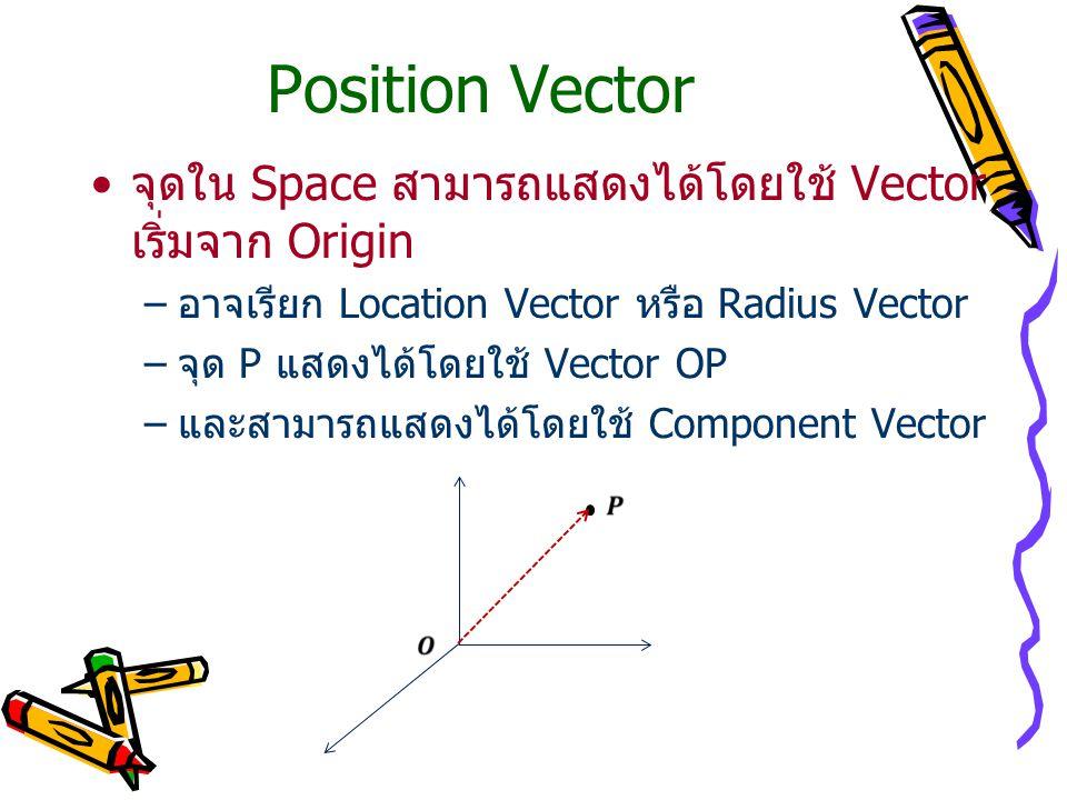 Position Vector จุดใน Space สามารถแสดงได้โดยใช้ Vector เริ่มจาก Origin –อาจเรียก Location Vector หรือ Radius Vector –จุด P แสดงได้โดยใช้ Vector OP –และสามารถแสดงได้โดยใช้ Component Vector
