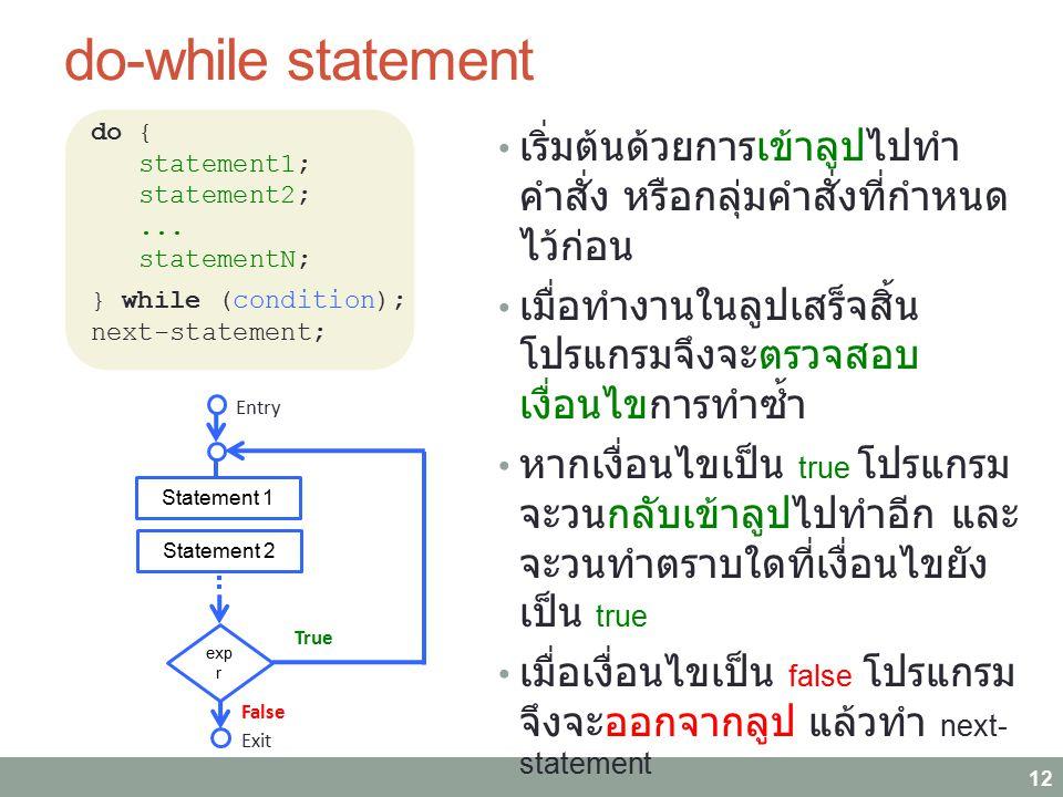 do-while statement 12 เริ่มต้นด้วยการเข้าลูปไปทำ คำสั่ง หรือกลุ่มคำสั่งที่กำหนด ไว้ก่อน เมื่อทำงานในลูปเสร็จสิ้น โปรแกรมจึงจะตรวจสอบ เงื่อนไขการทำซ้ำ