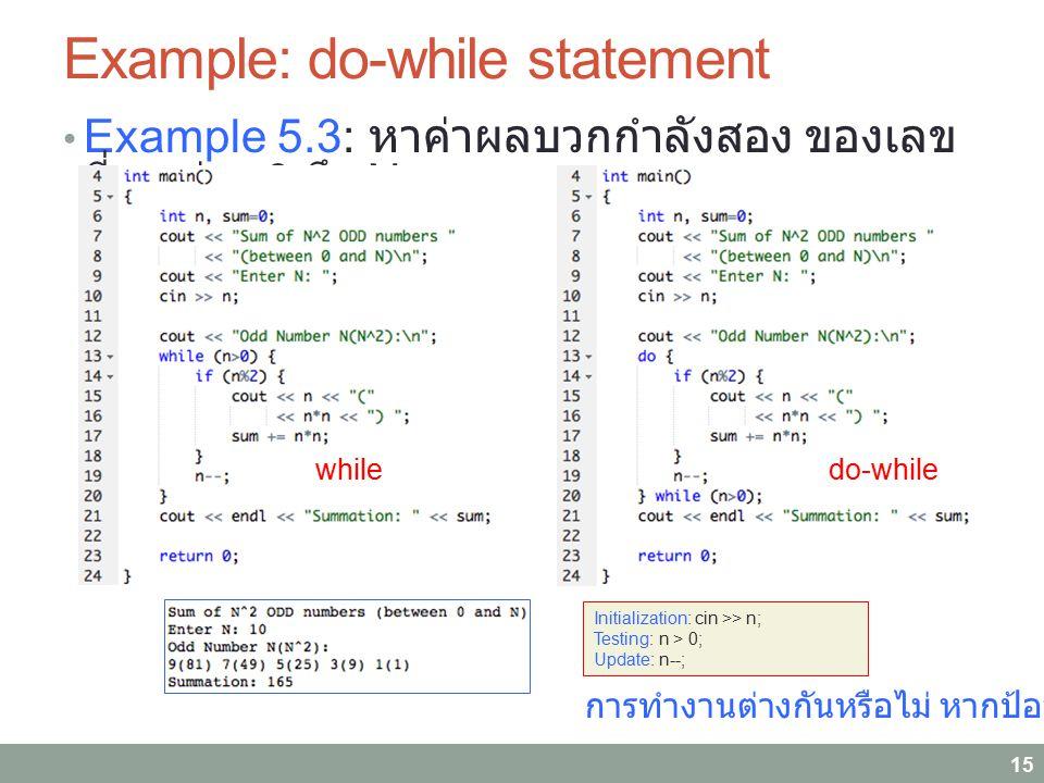 Example: do-while statement Example 5.3: หาค่าผลบวกกำลังสอง ของเลข คี่ระหว่าง 0 ถึง N 15 Initialization: cin >> n; Testing: n > 0; Update: n--; whiled