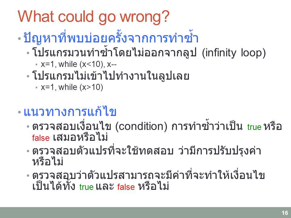 What could go wrong? ปัญหาที่พบบ่อยครั้งจากการทำซ้ำ โปรแกรมวนทำซ้ำโดยไม่ออกจากลูป (infinity loop) x=1, while (x<10), x-- โปรแกรมไม่เข้าไปทำงานในลูปเลย