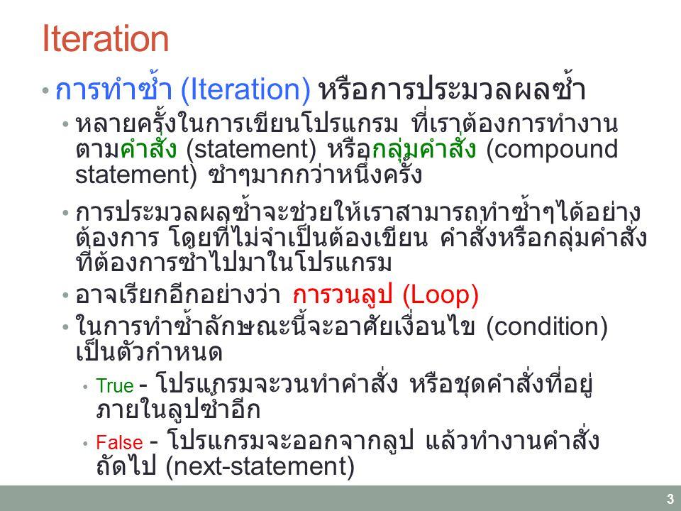 Iteration การทำซ้ำ (Iteration) หรือการประมวลผลซ้ำ หลายครั้งในการเขียนโปรแกรม ที่เราต้องการทำงาน ตามคำสั่ง (statement) หรือกลุ่มคำสั่ง (compound statem