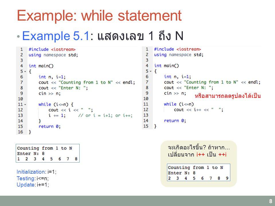 Example: while statement Example 5.1: แสดงเลข 1 ถึง N 8 จะเกิดอะไรขึ้น ? ถ้าหาก... เปลี่ยนจาก i++ เป็น ++i หรือสามารถลดรูปลงได้เป็น Initialization: i=