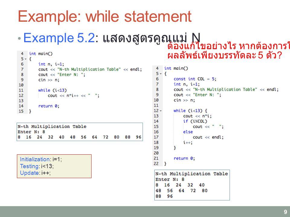 Example: while statement Example 5.2: แสดงสูตรคูณแม่ N 9 Initialization: i=1; Testing: i<13; Update: i++; ต้องแก้ไขอย่างไร หากต้องการให้แสดง ผลลัพธ์เพ