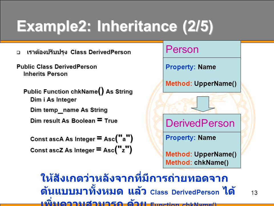 13 Example2: Inheritance (2/5)  เราต้องปรับปรุง Class DerivedPerson Public Class DerivedPerson Inherits Person Inherits Person Public Function chkName () As String Public Function chkName () As String Dim i As Integer Dim i As Integer Dim temp _ name As String Dim temp _ name As String Dim result As Boolean = True Dim result As Boolean = True Const ascA As Integer = Asc ( a ) Const ascA As Integer = Asc ( a ) Const ascZ As Integer = Asc ( z ) Const ascZ As Integer = Asc ( z ) Person Property: Name Method: UpperName() DerivedPerson Property: Name Method: UpperName() Method: chkName() ให้สังเกตว่าหลังจากที่มีการถ่ายทอดจาก ต้นแบบมาทั้งหมด แล้ว Class DerivedPerson ได้ เพิ่มความสามารถ ด้วย Function chkName()