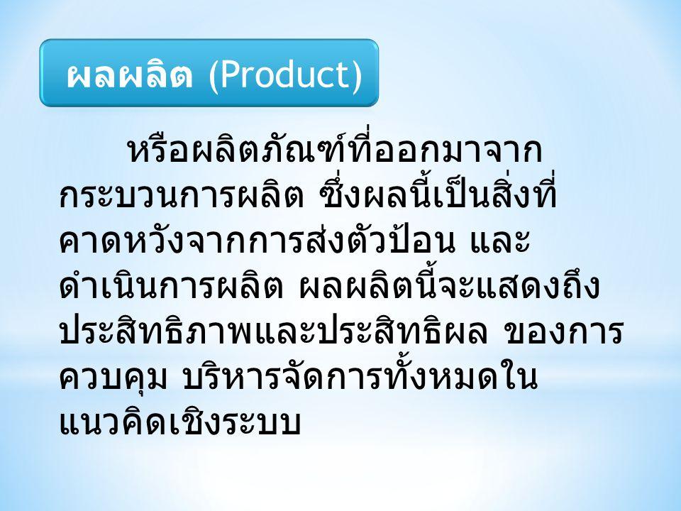 หรือผลิตภัณฑ์ที่ออกมาจาก กระบวนการผลิต ซึ่งผลนี้เป็นสิ่งที่ คาดหวังจากการส่งตัวป้อน และ ดำเนินการผลิต ผลผลิตนี้จะแสดงถึง ประสิทธิภาพและประสิทธิผล ของก