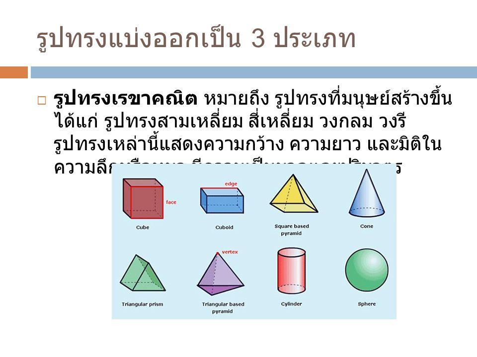 รูปทรงแบ่งออกเป็น 3 ประเภท  รูปทรงเรขาคณิต หมายถึง รูปทรงที่มนุษย์สร้างขึ้น ได้แก่ รูปทรงสามเหลี่ยม สี่เหลี่ยม วงกลม วงรี รูปทรงเหล่านี้แสดงความกว้าง