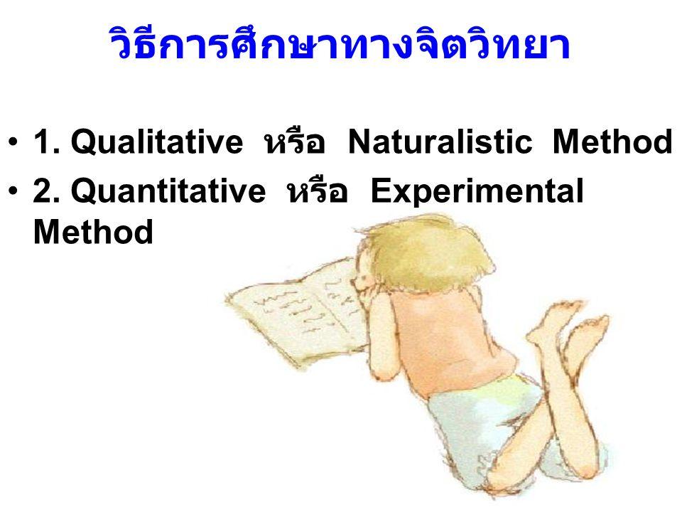 1.Qualitative หรือ Naturalistic Method ศึกษาเชิงคุณภาพ ผู้ศึกษาไม่สามารถจัดสร้าง สถานการณ์ขึ้นมา ศึกษาในแนวลึก มีขอบเขต เฉพาะเจาะจง เขียนบรรยายข้อมูล